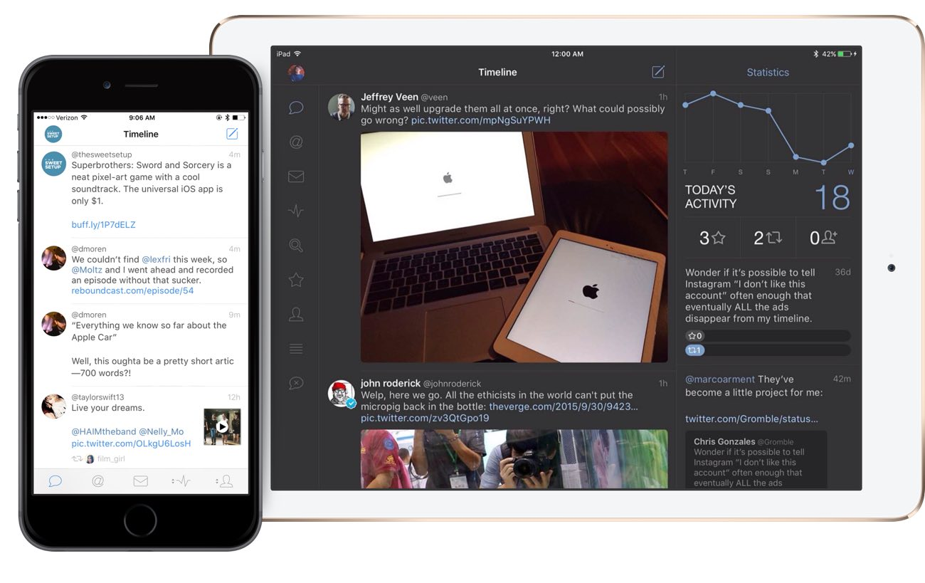 Tweetbot 4 on iPad Air 2 and iPhone 6s Plus