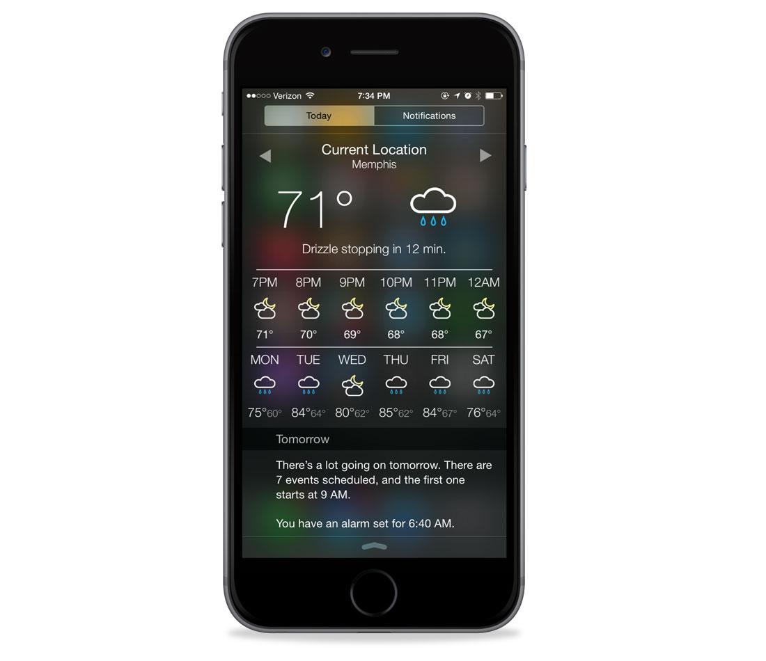 Check the Weather iOS 8 widget
