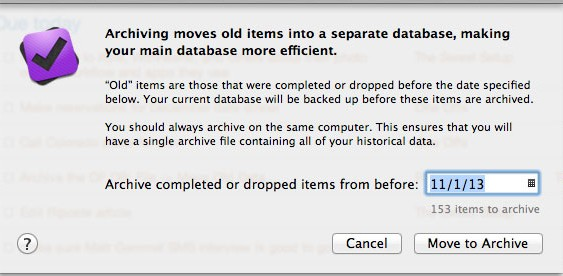 OmniFocus Database Archive Dialog