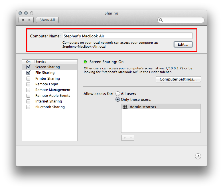 Sharing preference in OS X