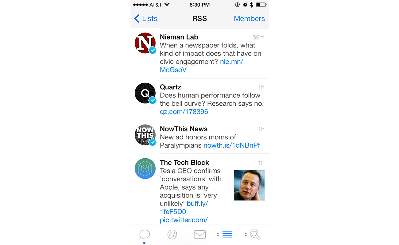 Tweetbot Lists for news