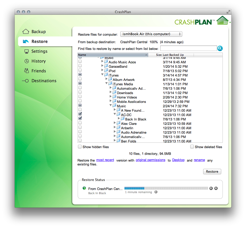 CrashPlan's in-app file restore