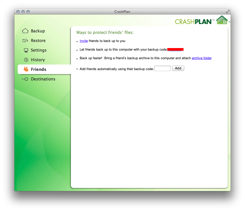 CrashPlan allows backups to be sent to a friend's computer