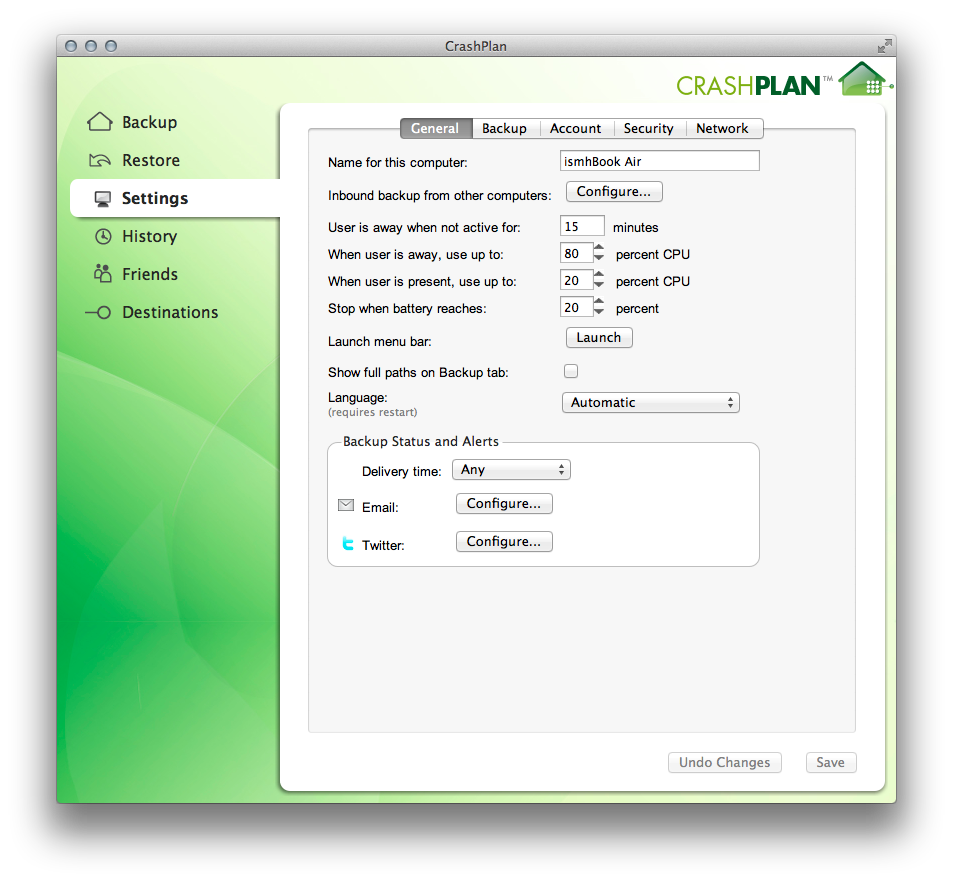 CrashPlan has a lot of settings