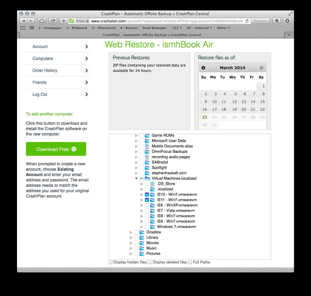 CrashPlan's web-based file restore