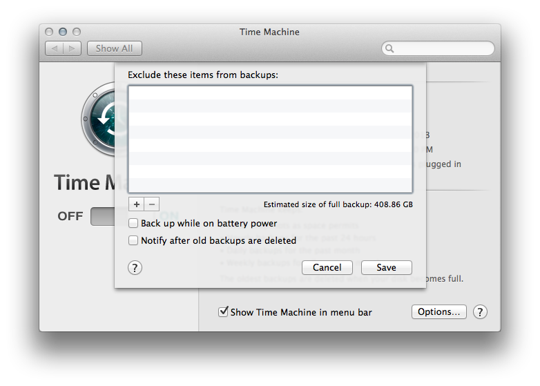 Time Machine can be set to exclude certain directories