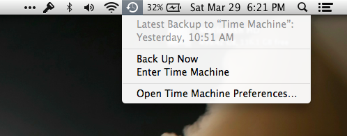 Time Machine menu bar app