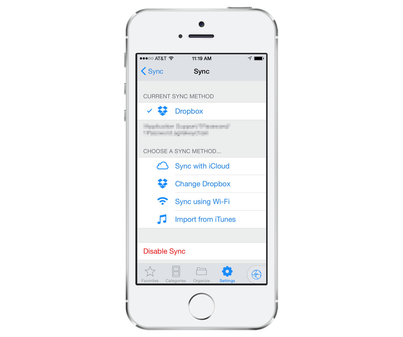 1Password iOS Sync settings