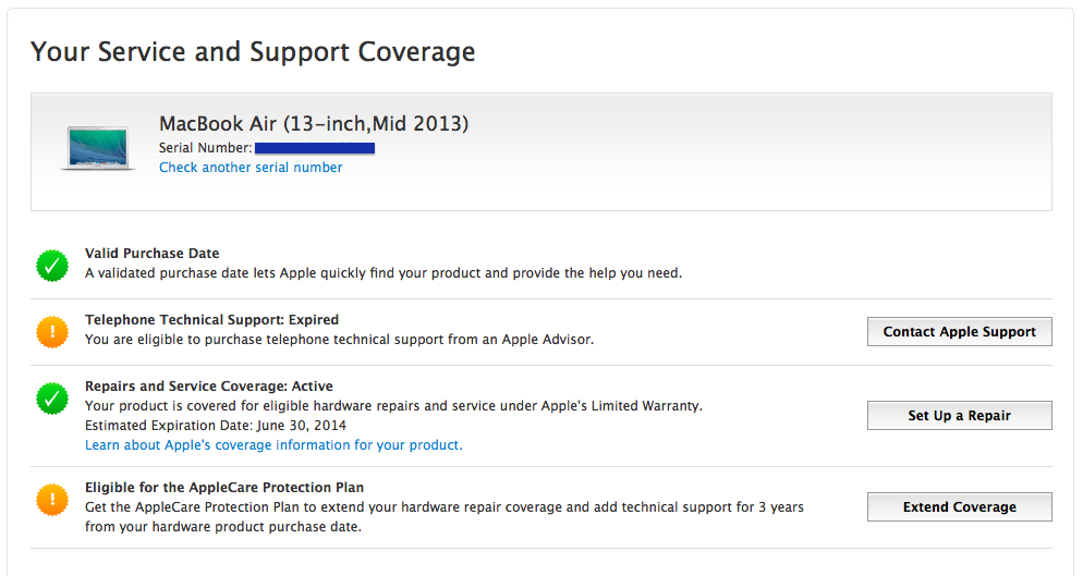 AppleCare support coverage report