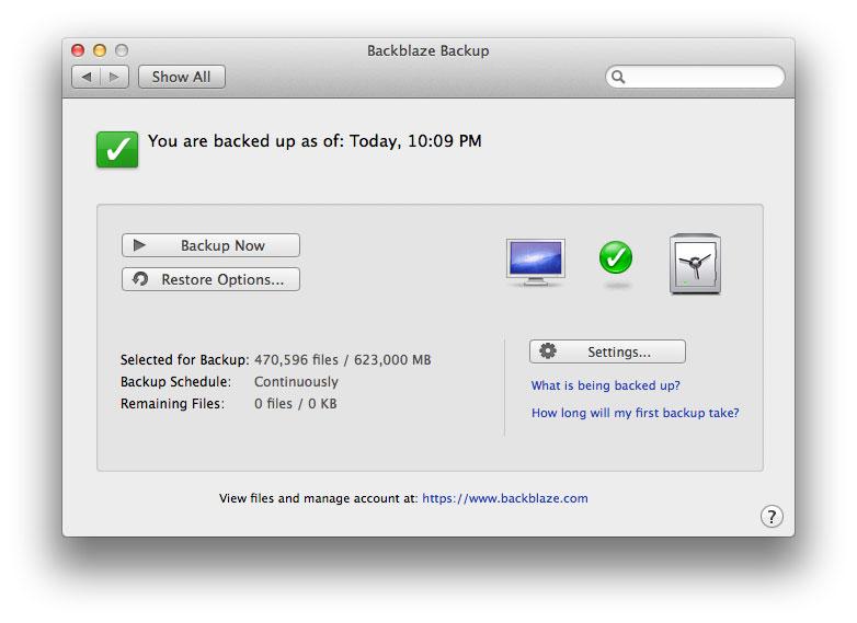 The Backblaze app