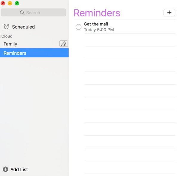 Reminders for Mac