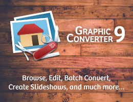 GraphicConverter the universal genius for photo editing, batch conversion, metadata editing, image browsing and much more.