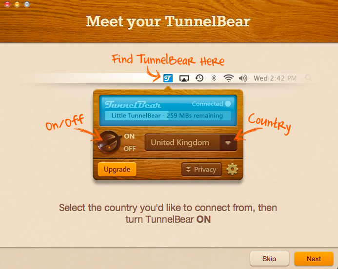TunnelBear on Mac OS X