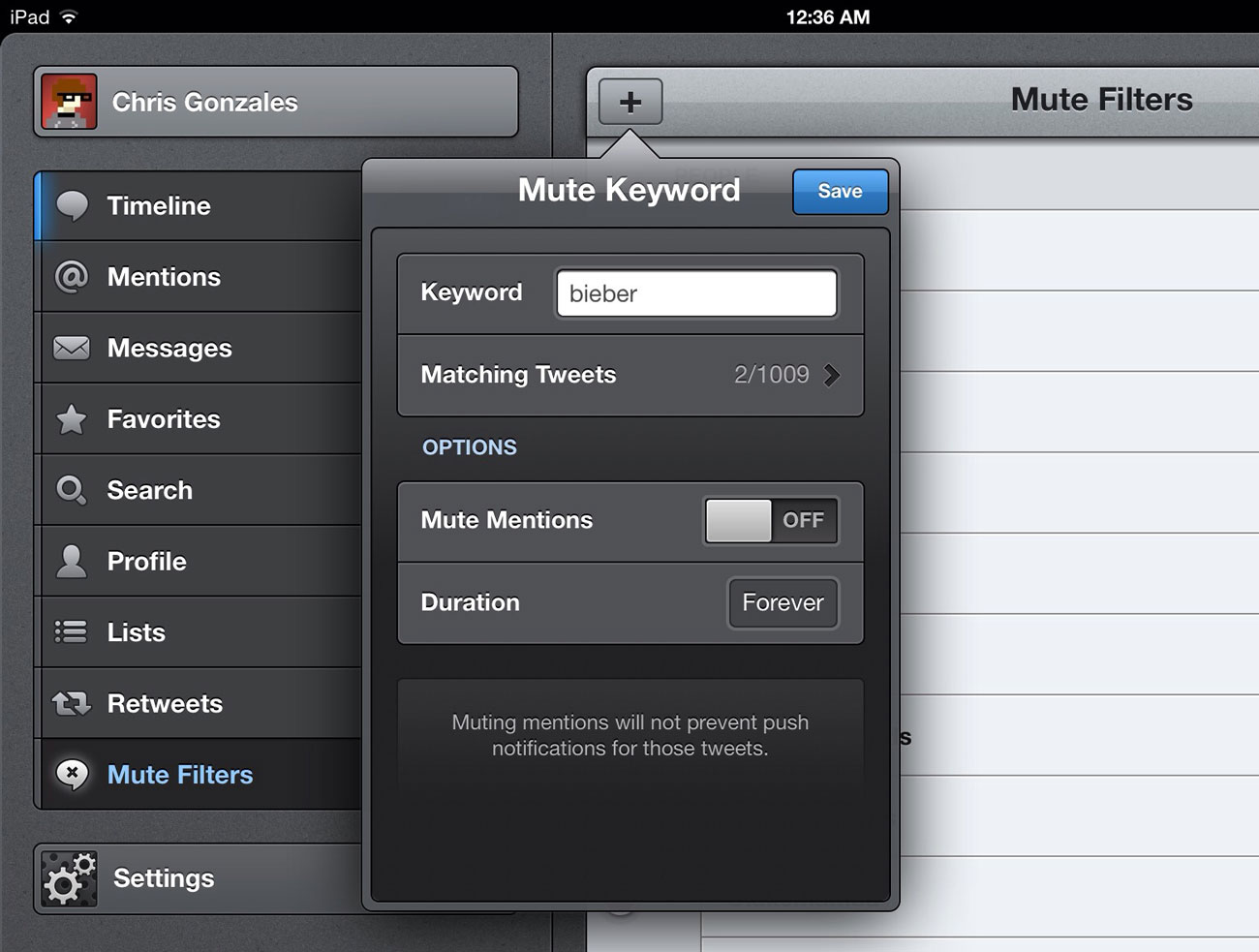 "Tweetbot — ""Mute Keyword"" Menu"