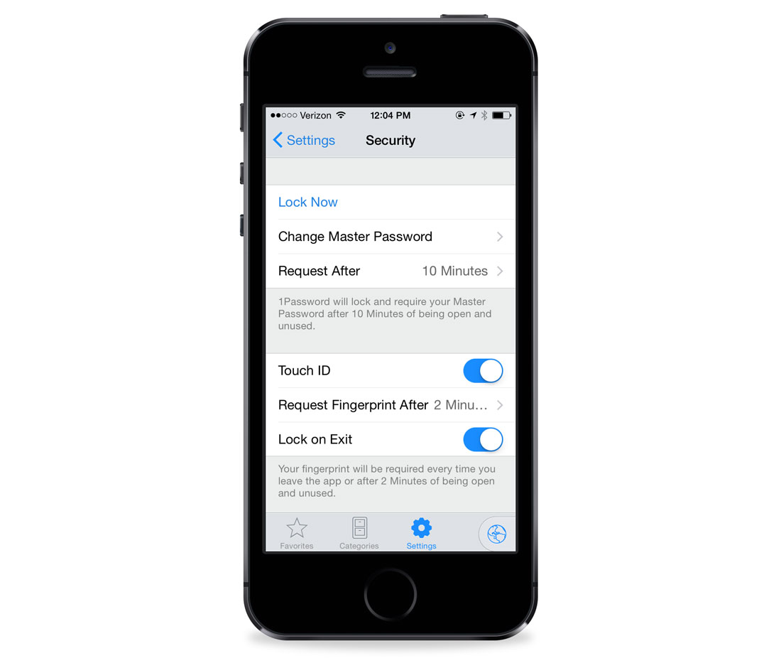 1Password Security settings