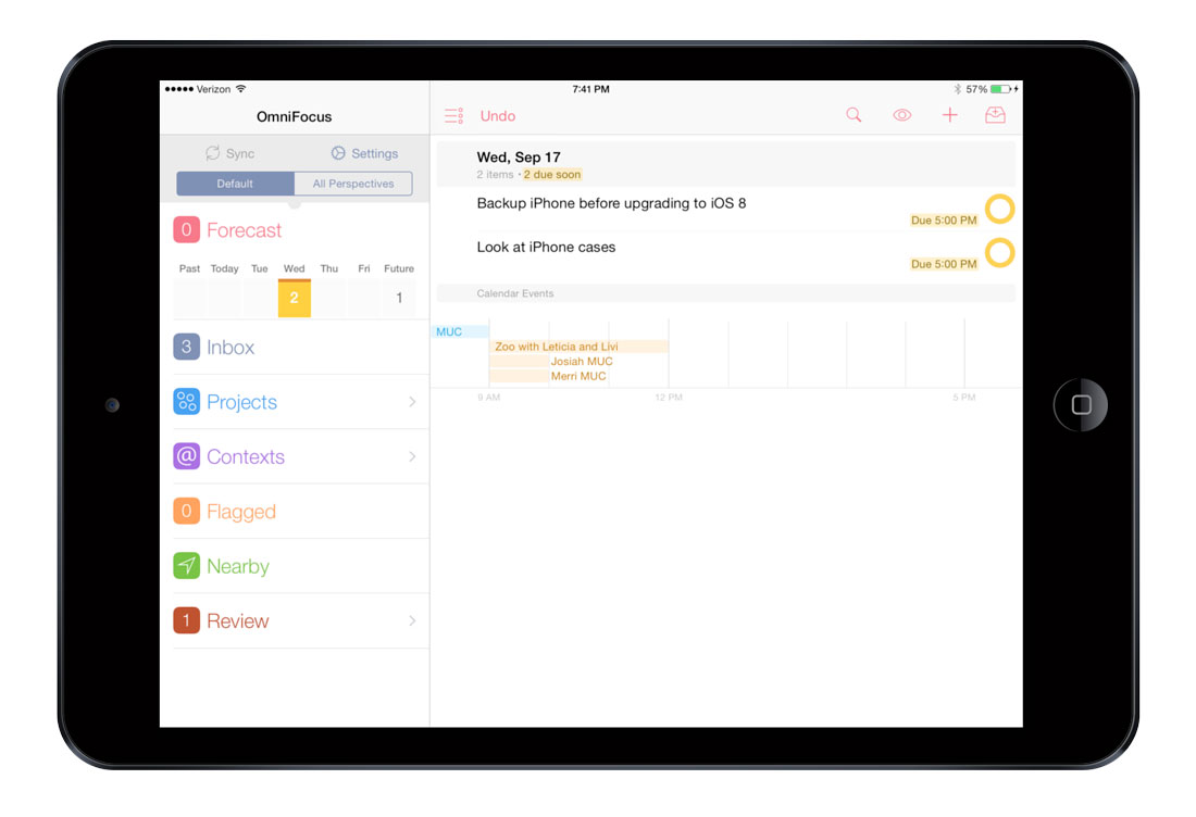 OmniFocus 2 for iPad Forecast view