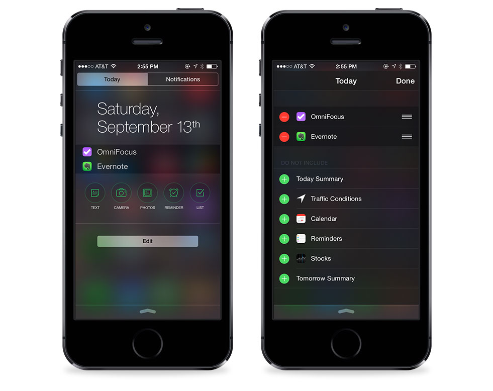 iOS 8 Notification Center Today view