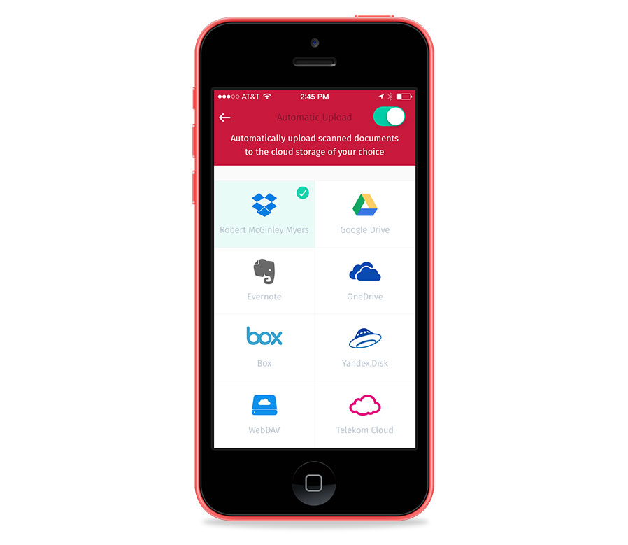 Scanbot automatically uploads to many services