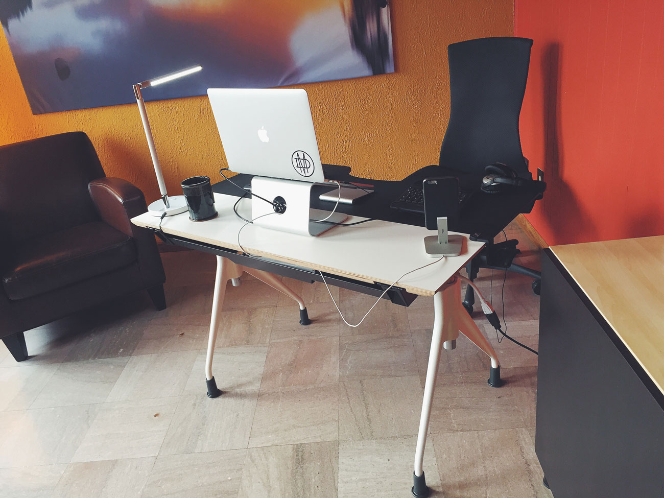 Brandon Wentland's ergonomic setup, furniture view