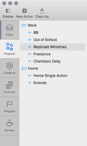 OmniFocus Projects view on the Mac