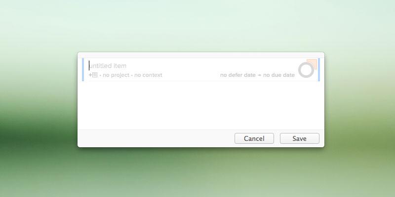 Mac OS X OmniFocus Quick Entry window