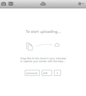 CloudApp menu bar in OS X