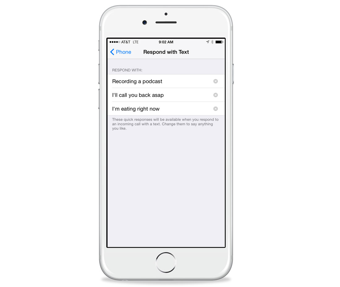 Customize iOS auto-reply texts