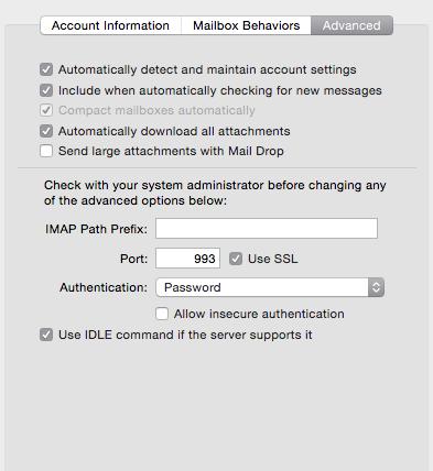 iCloud Mail Drop settings