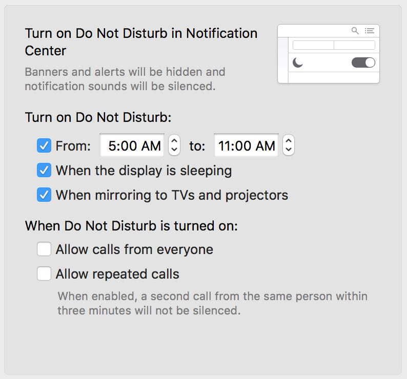 Setting Do Not Disturb on your Mac