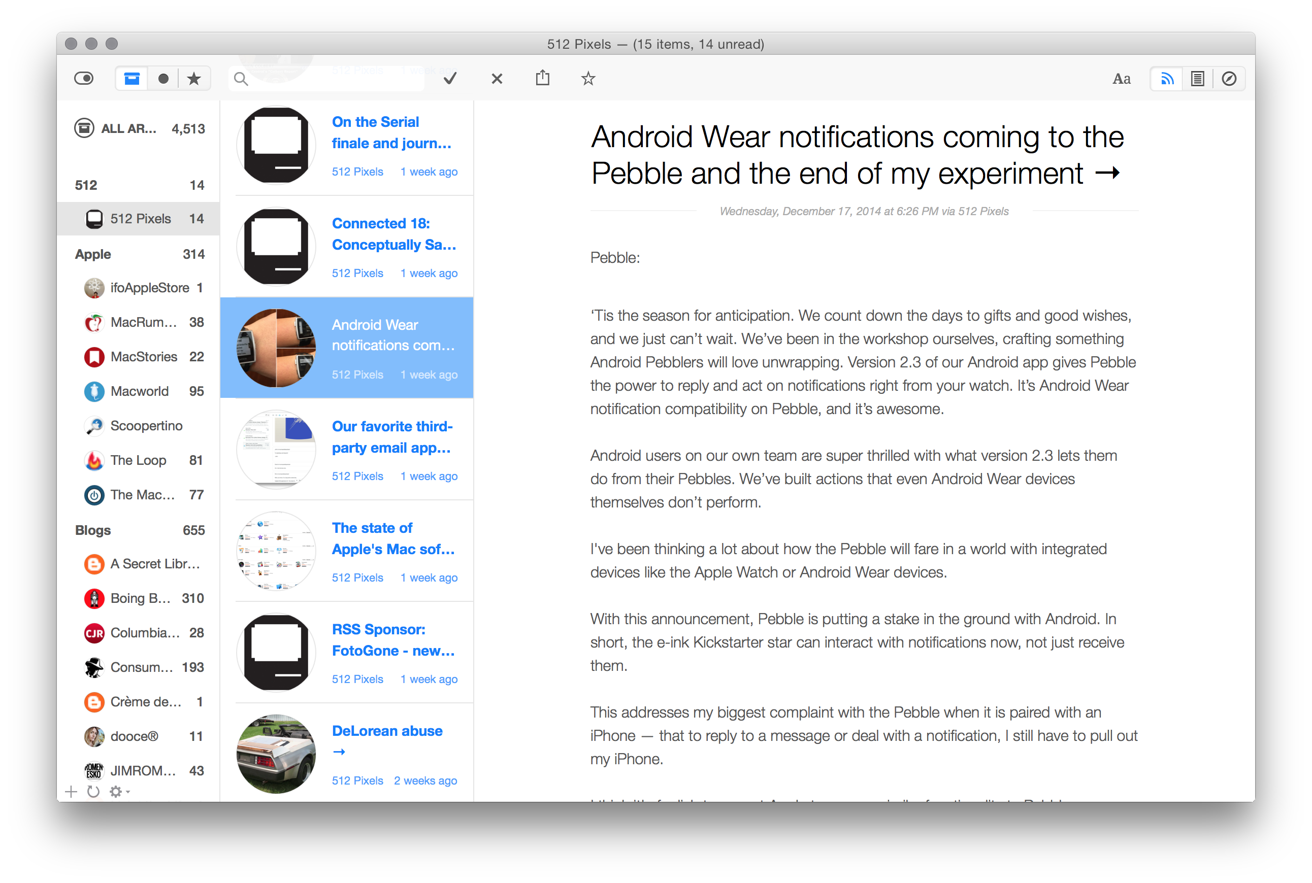 The Best Rss Reader For Macos Sweet Setup 2 Way Switch Feed At Example Above Is My Site That Photo Of Smartwatch Isnt From 512 Pixels Its Pebbles Blog Post I Linked To