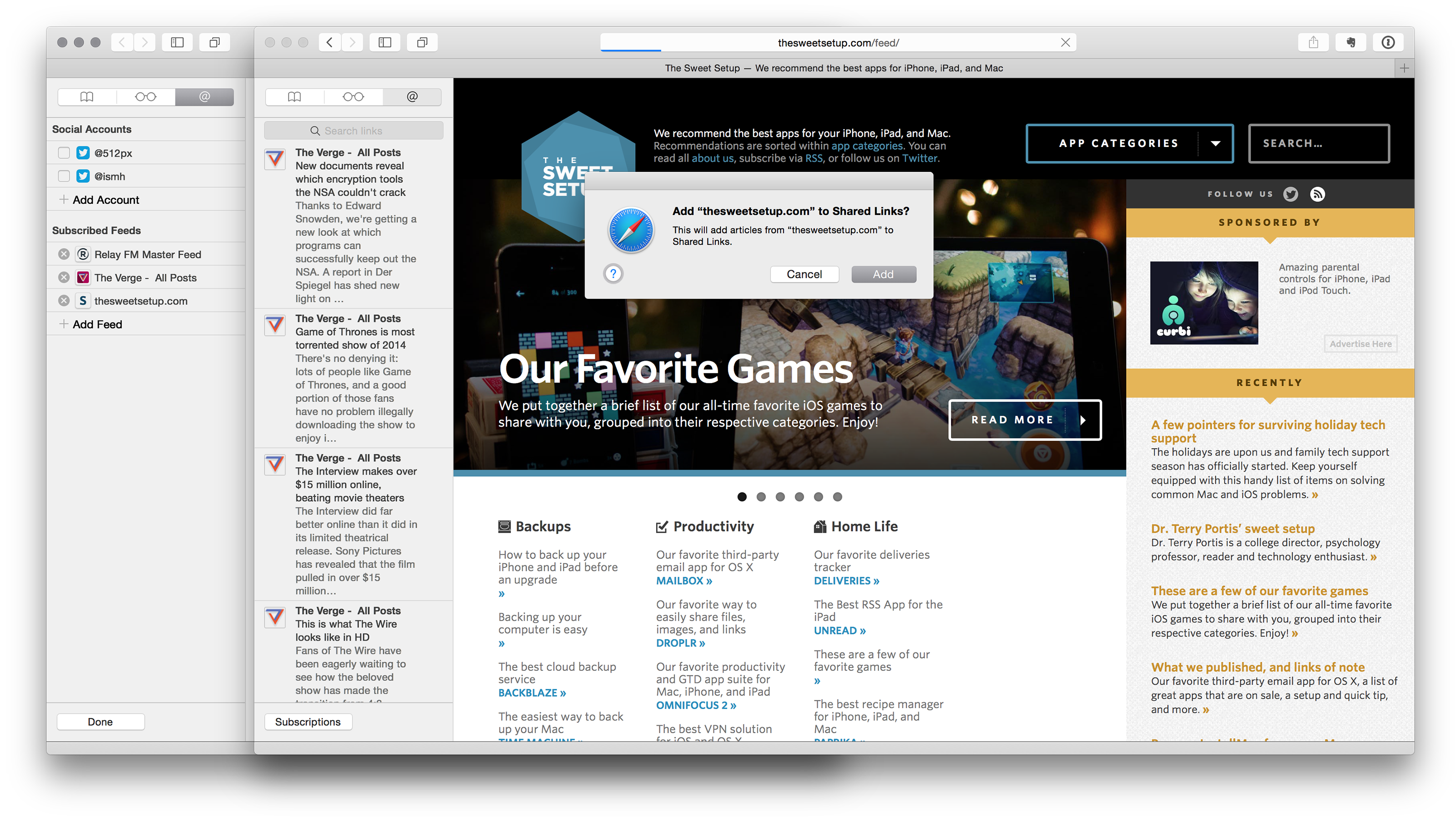 Safari's Shared Links