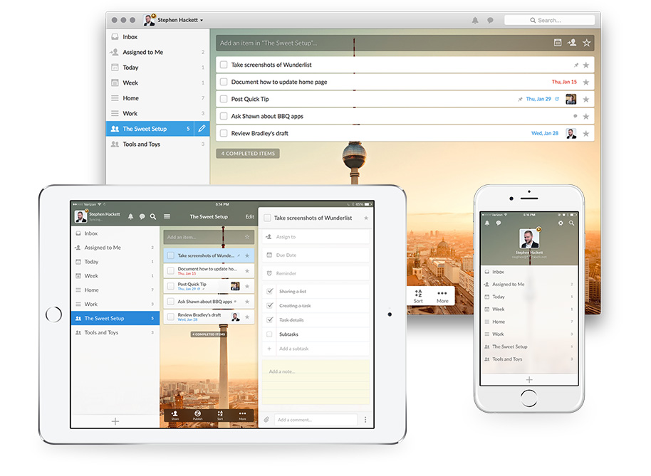 Wunderlist on OS X, iPhone, and iPad