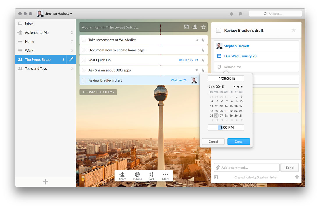 Wunderlist reminders in OS X