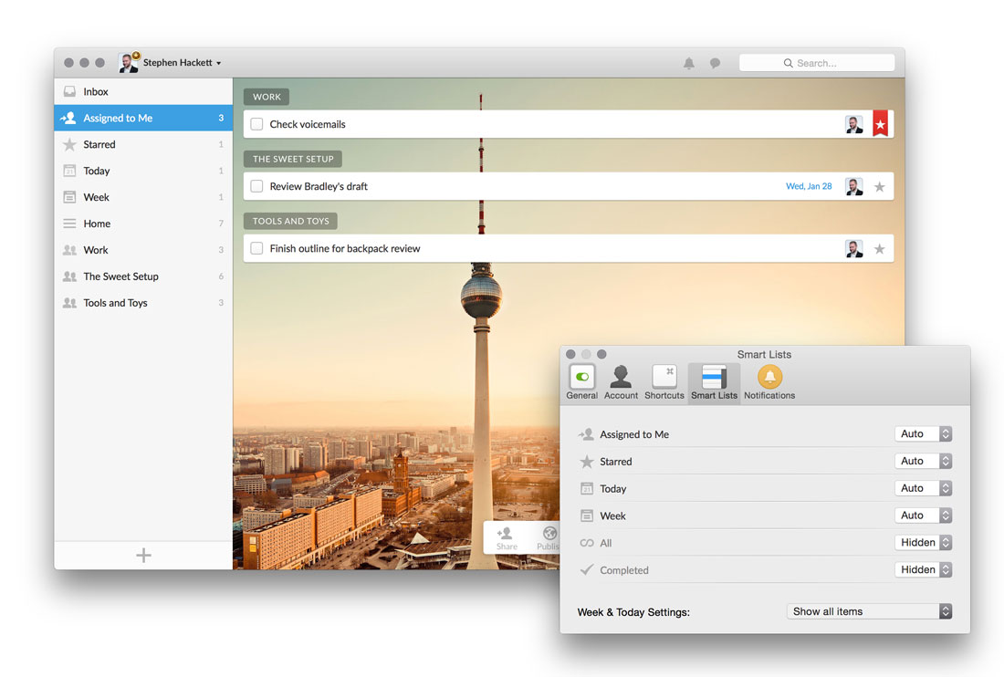 Smart Lists in Wunderlist