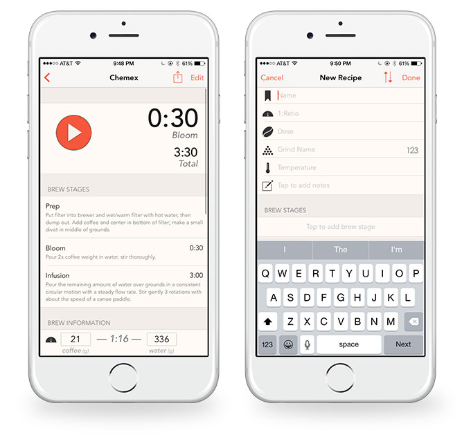 Press Coffee timer for iPhone