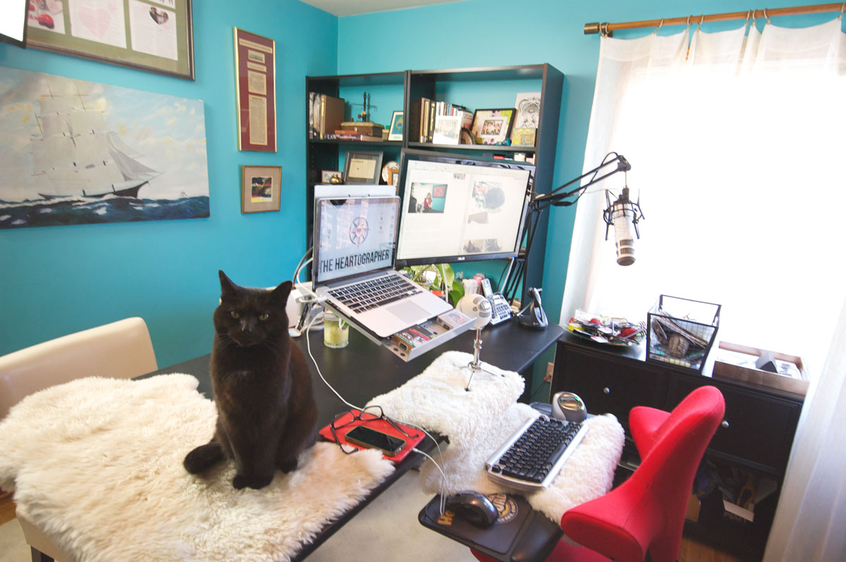 Virginia Roberts' desk, with cat