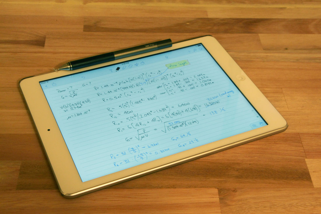 Blake's note-taking system with iPad and Adonit Jot Pro pen