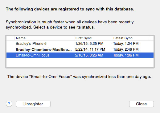 Unregister a device in OmniSync