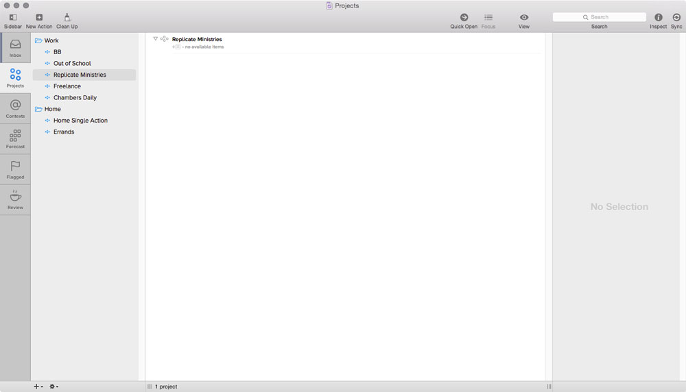 OmniFocus on Mac projects view