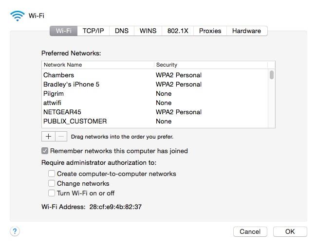 Wi-Fi SSIDs list