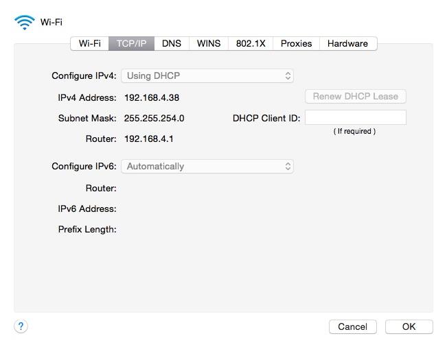 TCP/IP settings
