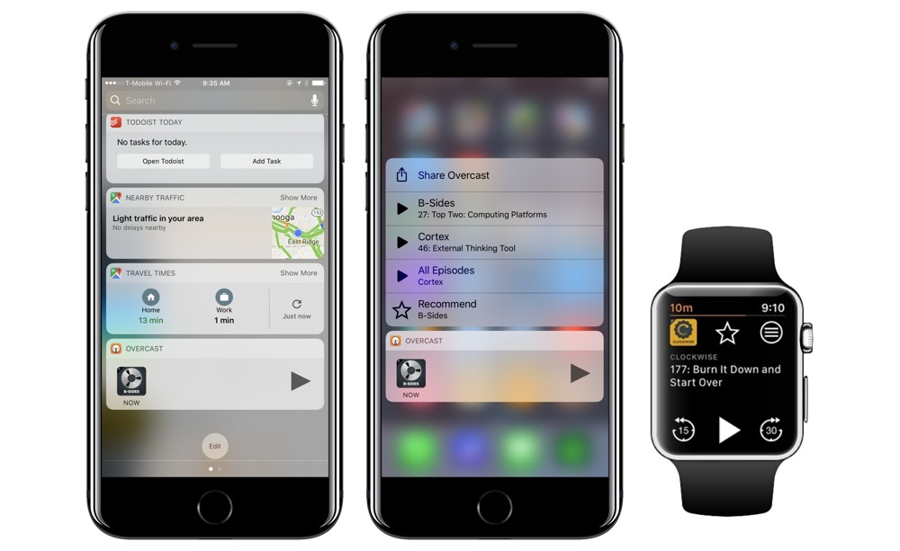 Today View, 3D Touch, and Apple Watch