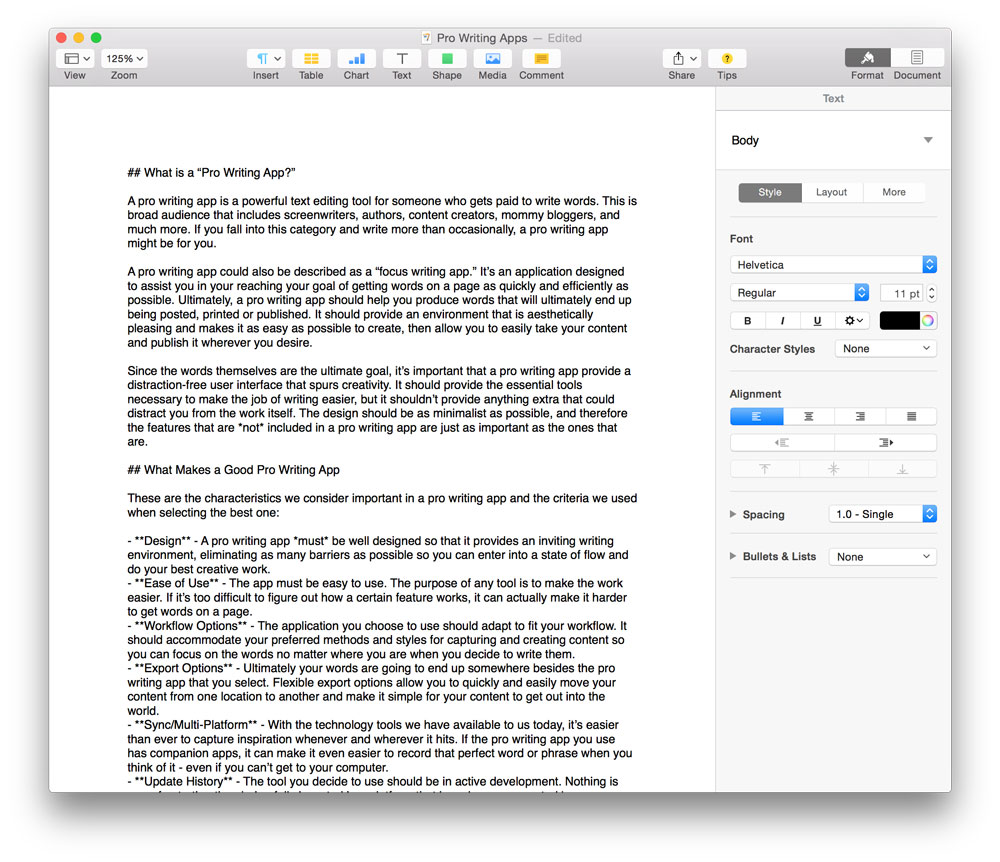 our favorite pro writing app for mac the sweet setup pages jpg