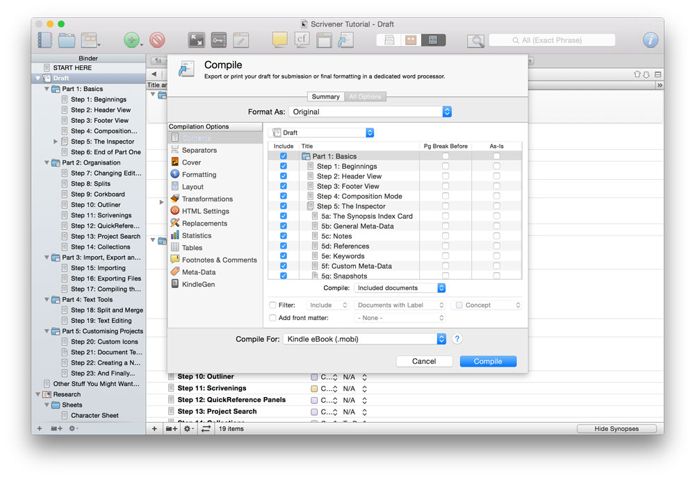 Compile options in Scrivener
