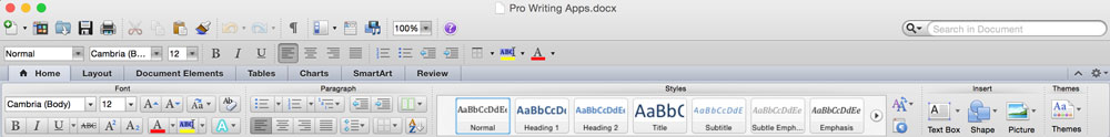 Word toolbar example