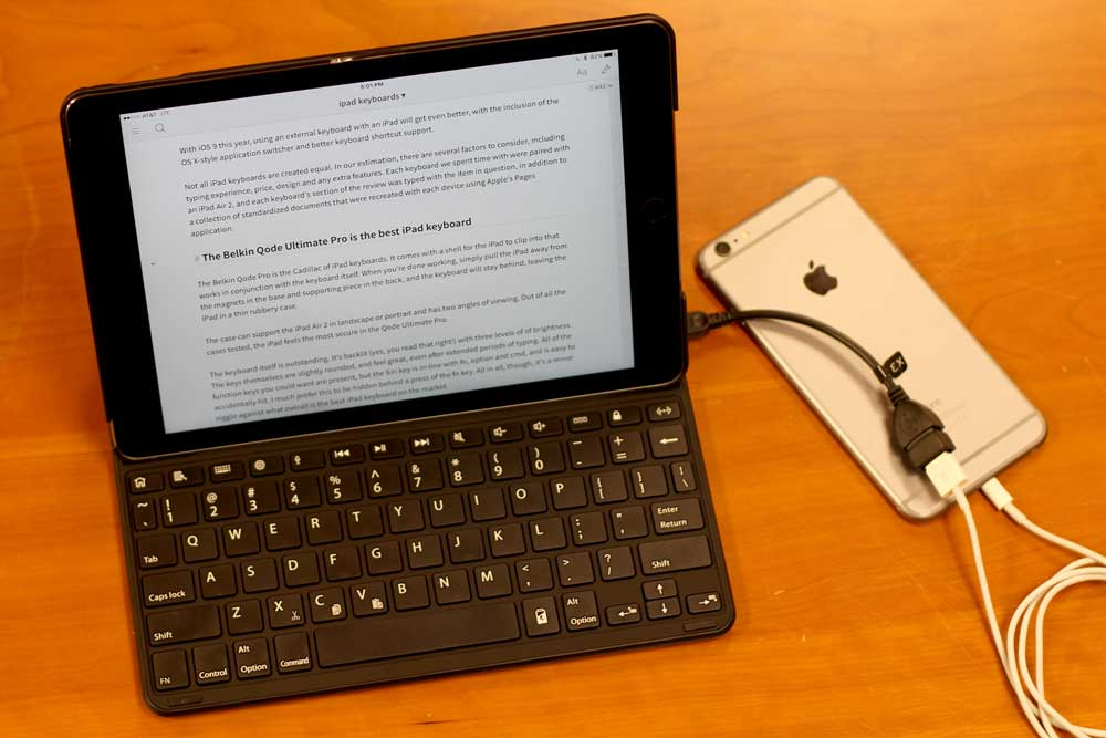 Can you hook up a keyboard to an ipad