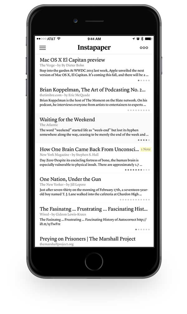 Instapaper iPhone table of contents