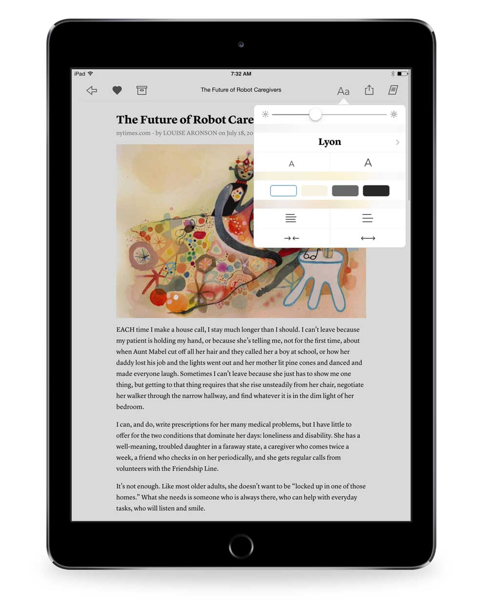screenshot 3 Instapaper typography and background options