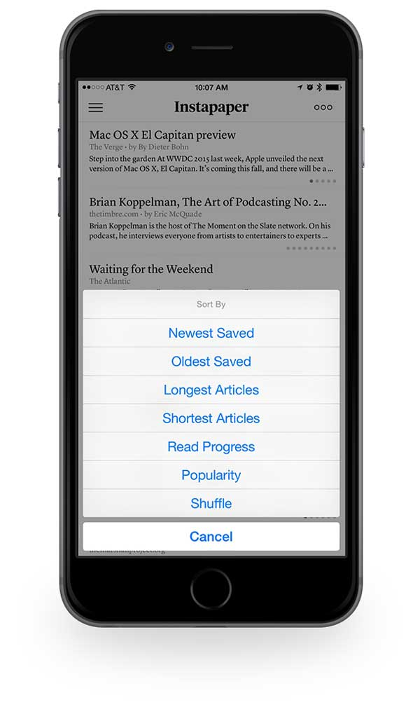 Instapaper article sorting options