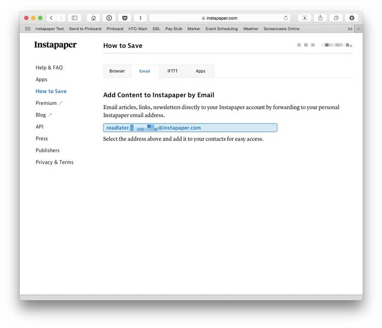 screenshot 6 Instapaper save via email